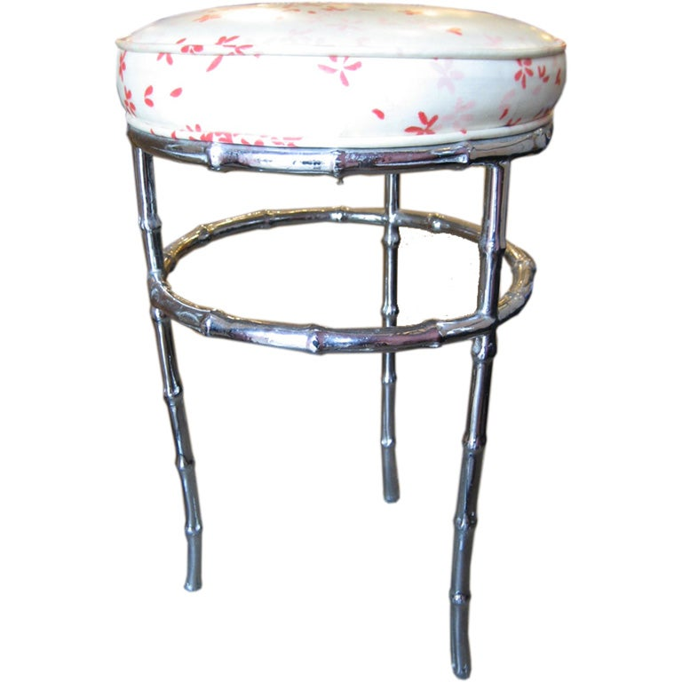 Nickel Plated Faux Bamboo Vanity Stool At 1stdibs