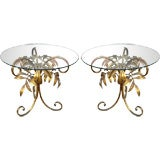 Pair Italian gilt Tole Laurel leaf side tables
