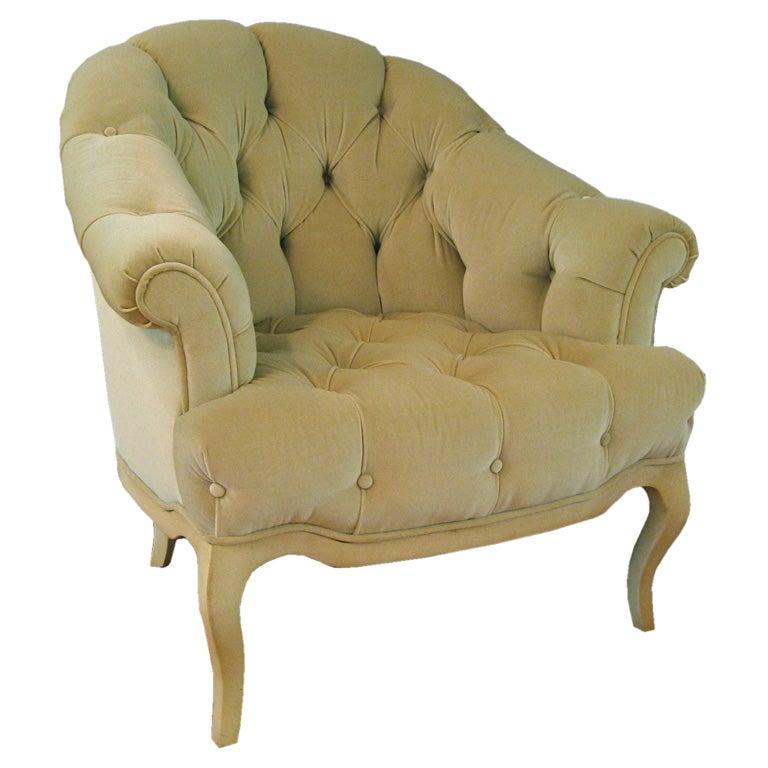 Elegant tufted velvet Club chair at 1stdibs