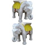 Fine and large pair of Italian Majolica Elephant tables