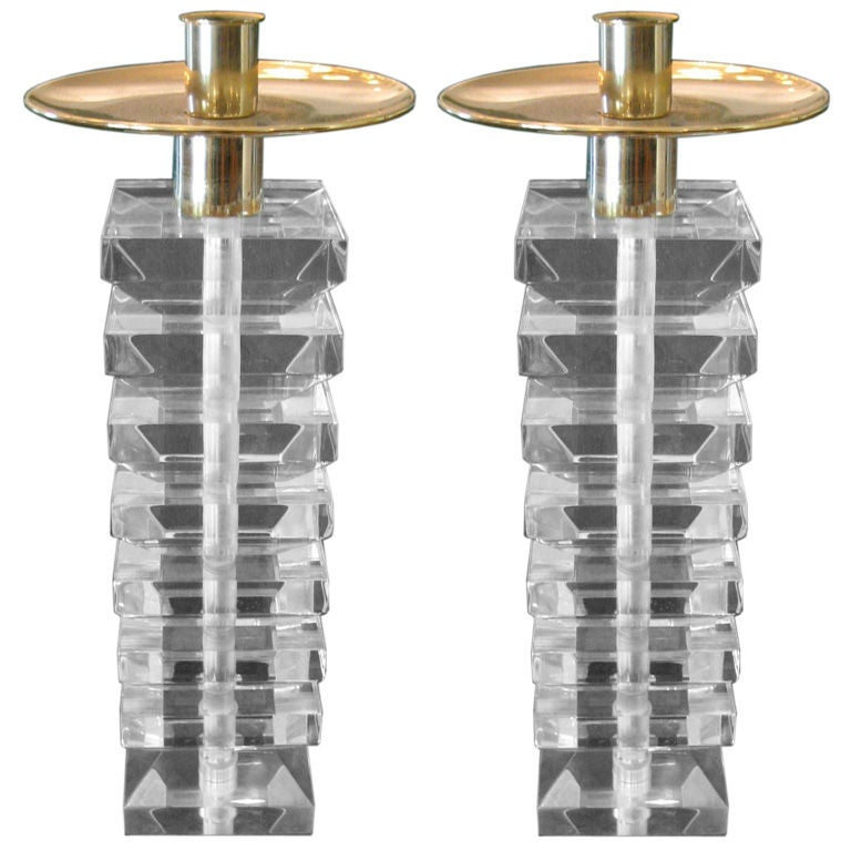 Pair of Stacked Lucite and Brass Candlesticks For Sale