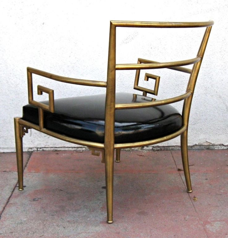 Beau Mid 20th Century Italian Brass Armchair With Greek Key Armrests For Sale