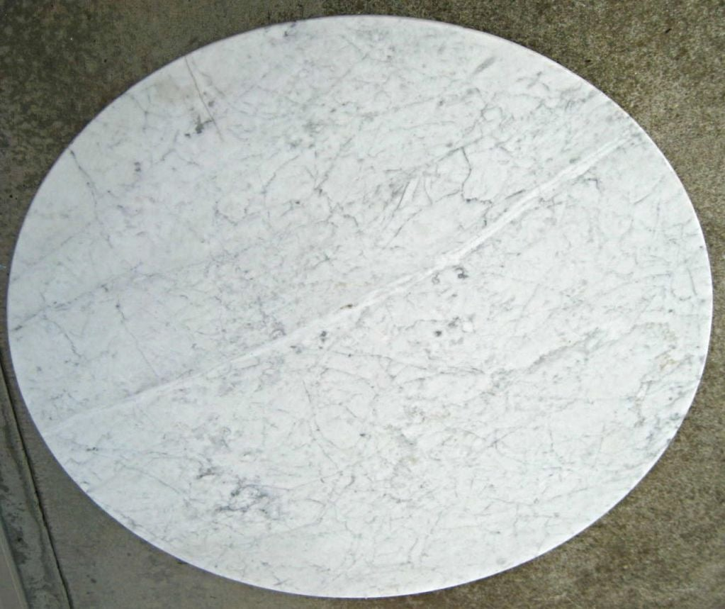 Polished aluminum base Tulip table with Carrara Marble top  : img1623 from 1stdibs.com size 1023 x 859 jpeg 110kB