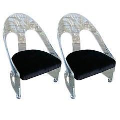 Amazing Pair of Spoonback Lucite Chairs