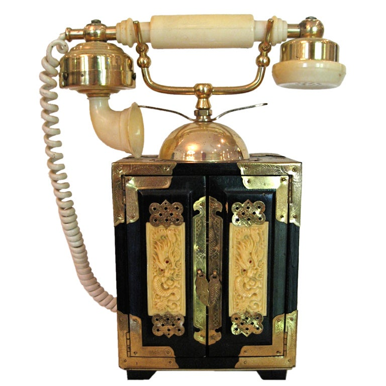 Vintage Chinoiserie Telephone with Bakelite Receiver