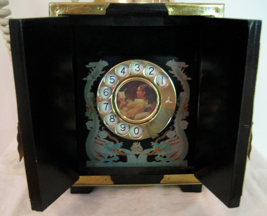 Vintage Chinoiserie Telephone with Bakelite Receiver image 5