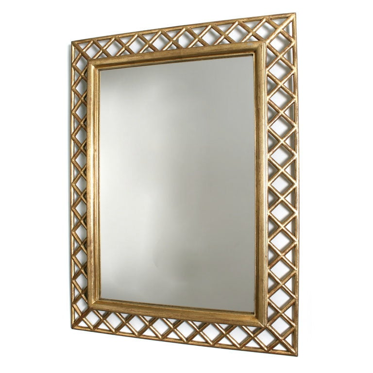 italian gilt wood lattice frame mirror 1