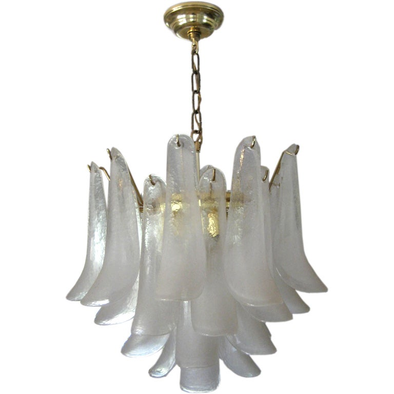 Murano Glass Petal Chandelier By Mazzega At 1stdibs