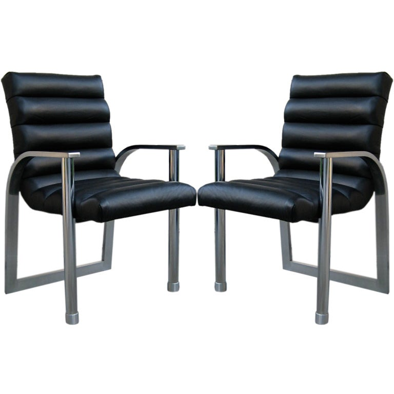 Pair of Eclipse Lounge Chairs by Jay Spectre