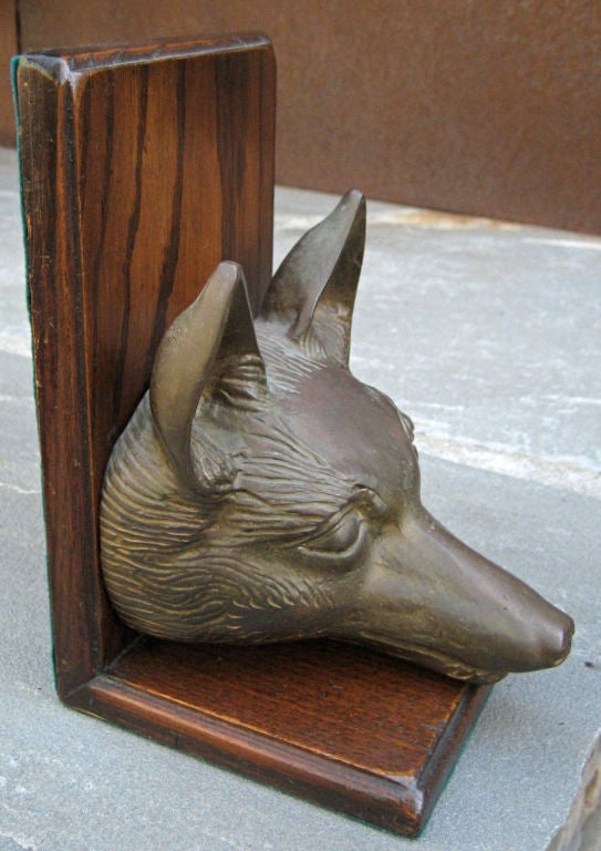 English Life Size Pair of Bronze Fox Head Bookends