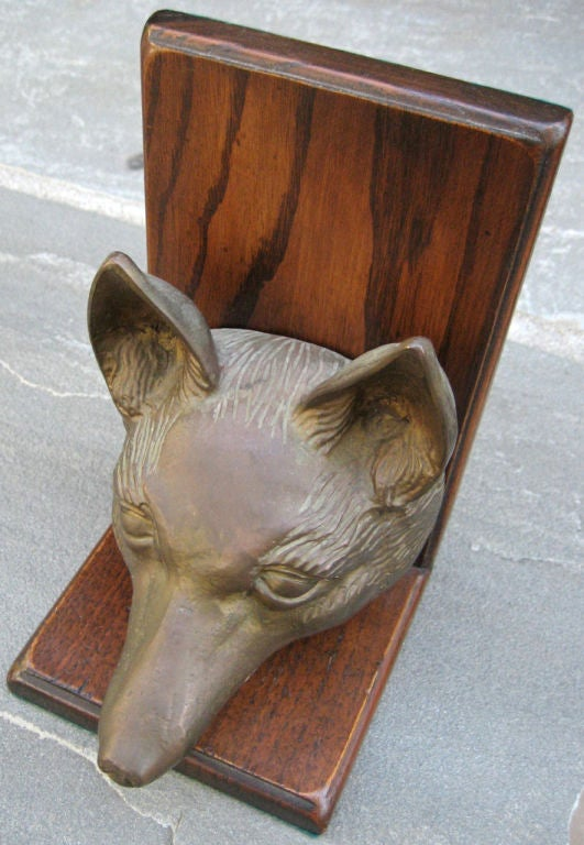 Life Size Pair of Bronze Fox Head Bookends In Excellent Condition In San Leandro, CA