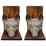 Life Size Pair of Bronze Fox Head Bookends