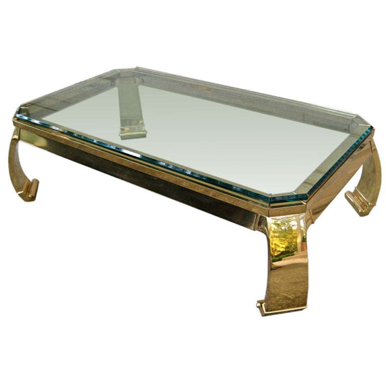 Solid Brass Coffee Table Attr Karl Springer At 1stdibs