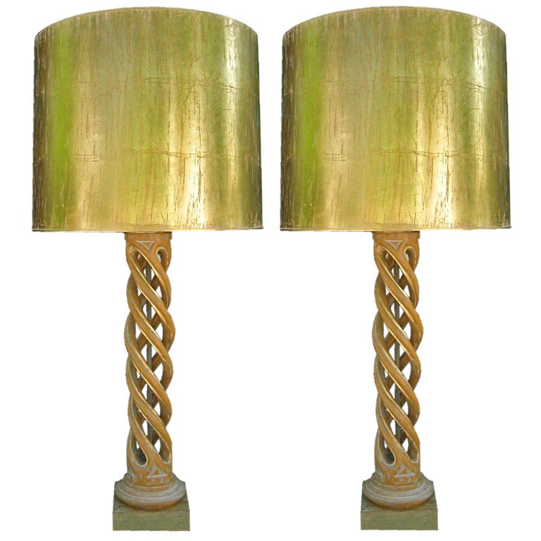 James Mont-Pair of Gilt Wood Open Spiral Lamps