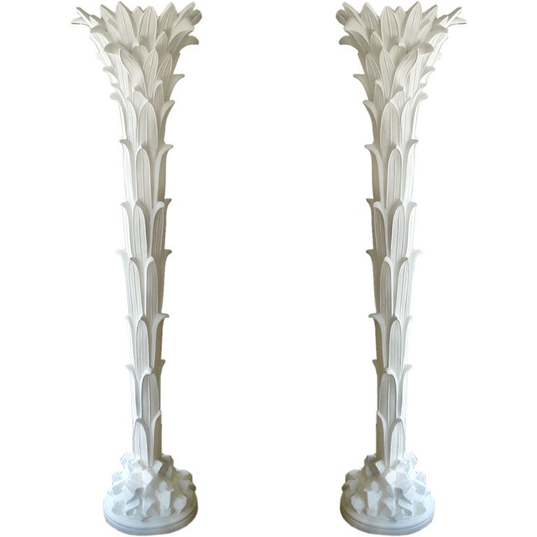 Pair of  Plaster Floor Lamps by Serge Roche.