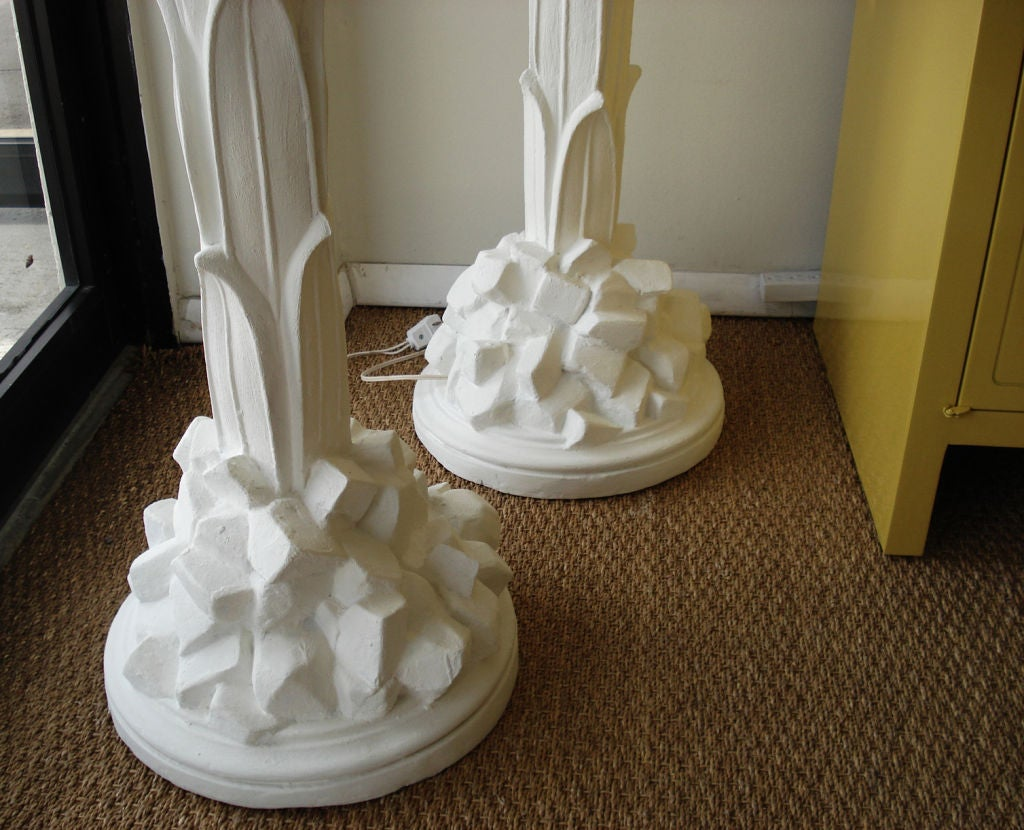 Pair of  Plaster Floor Lamps by Serge Roche. In Excellent Condition In Miami, FL