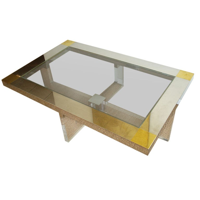 Lucite chrome and brass coffee table at 1stdibs for Lucite and brass coffee table