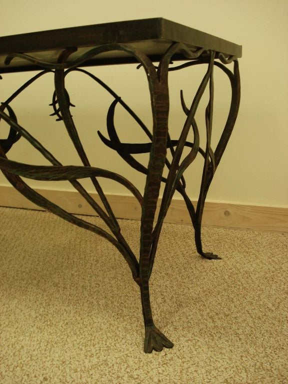 Merveilleux French Art Nouveau Style Wrought Iron Coffee Table. For Sale