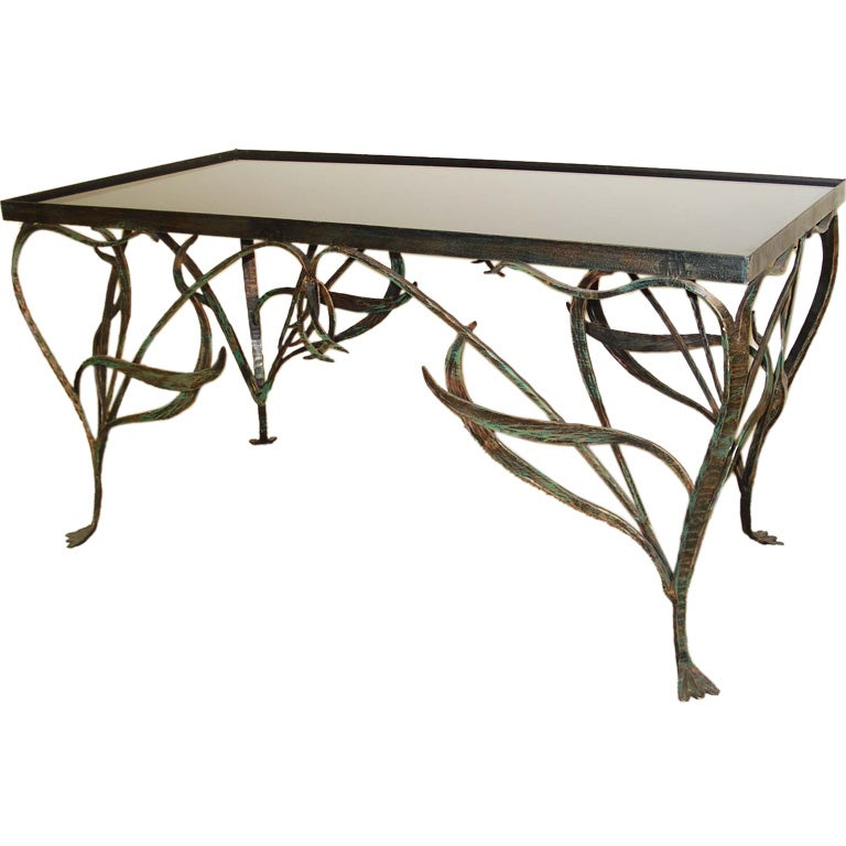 Art Nouveau Style Wrought Iron Coffee Table. 1