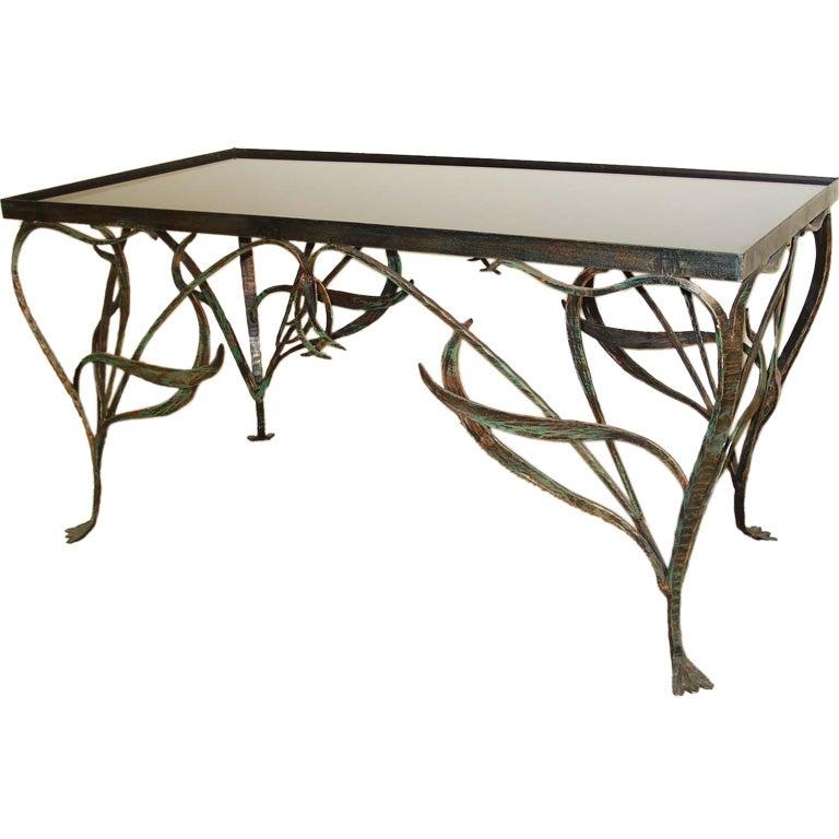 Art Nouveau Style Wrought Iron Coffee Table
