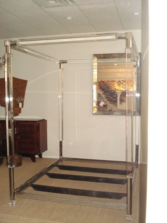Rare Four Poster, Lucite Bed. image 5