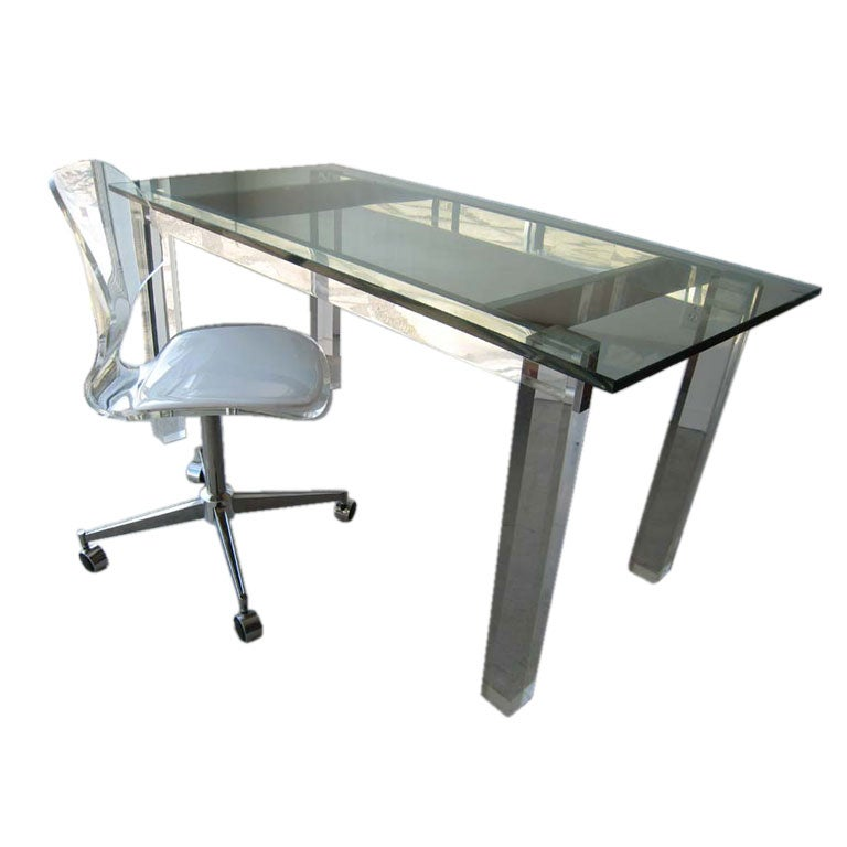 1970s modern lucite desk or table at 1stdibs for Perspex desk