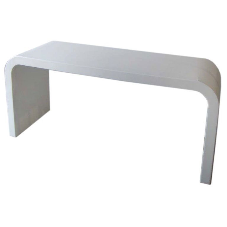 White Lacquer Console Table WHITE LACQUERED WATERFALL CONSOLE TABLE