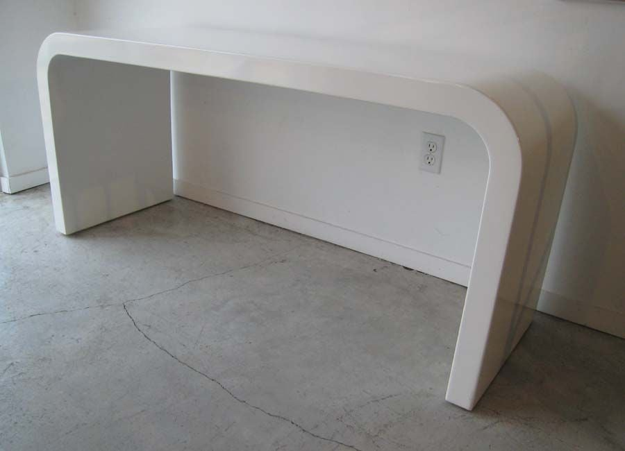 White Waterfall Tables ~ White lacquered waterfall console table at stdibs