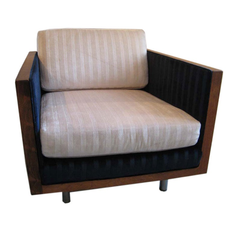 MILO BAUGHMAN ROSEWOOD CUBE LOUNGE CHAIR