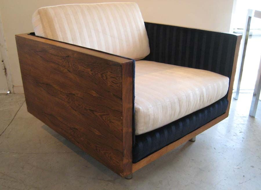 MILO BAUGHMAN ROSEWOOD CUBE LOUNGE CHAIR image 2