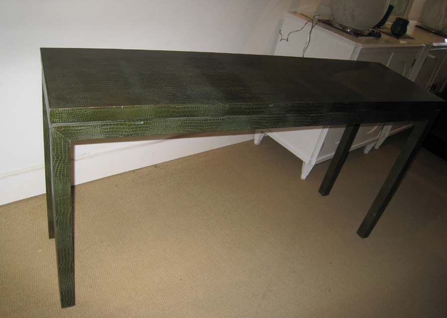 FAUX ALLIGATOR PARSONS CONSOLE SOFA TABLE At 1stdibs