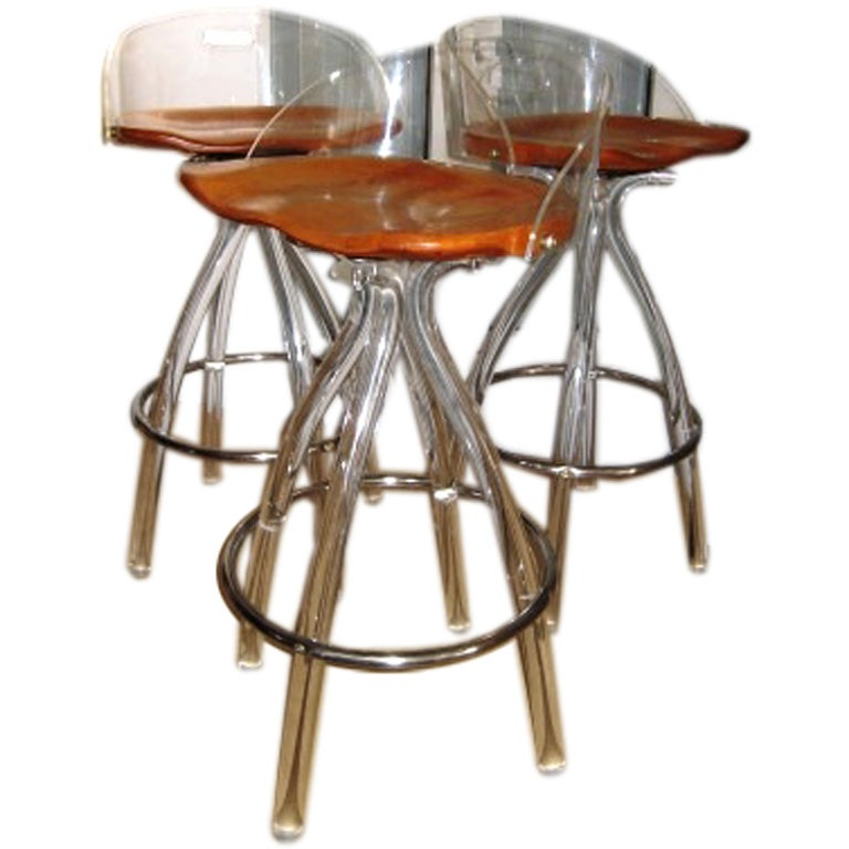 Cool 1960s Sculptural Lucite Acrylic Stools At 1stdibs