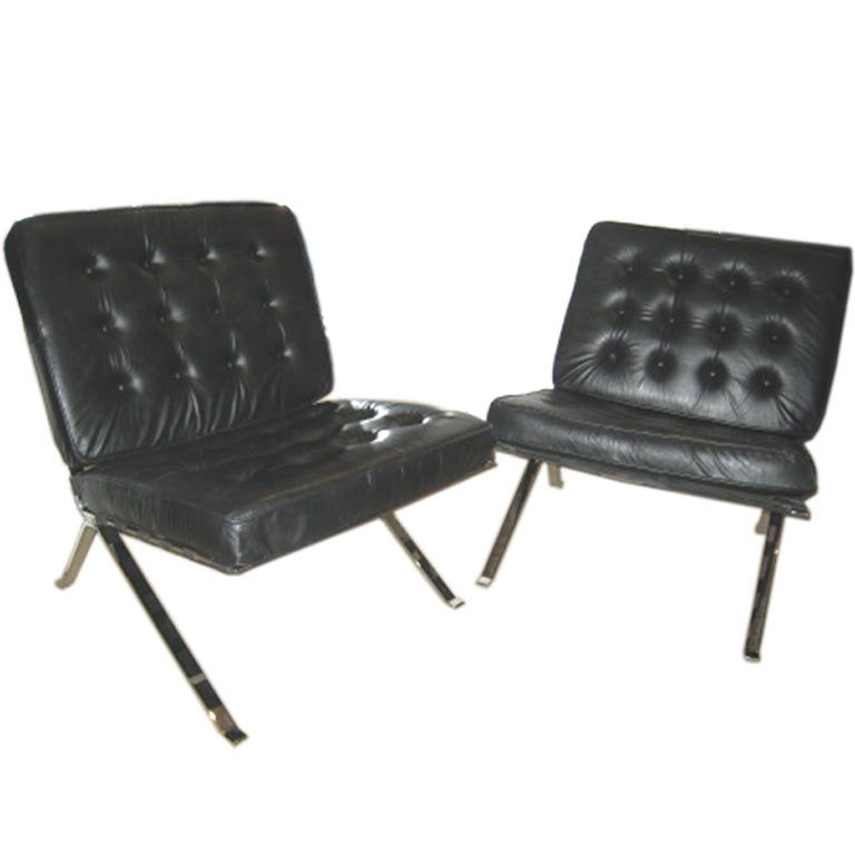 70s HI END PAIR OF BLACK LEATHER SLIPPER CHAIRS at 1stdibs