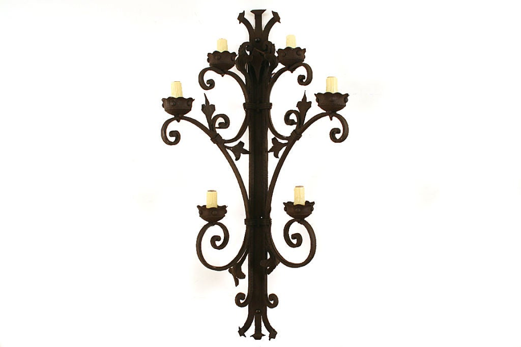 Large Wall Sconces Wrought Iron : Pair of Large Wrought Iron, Formerly Gaslight, 6-arm Sconces at 1stdibs