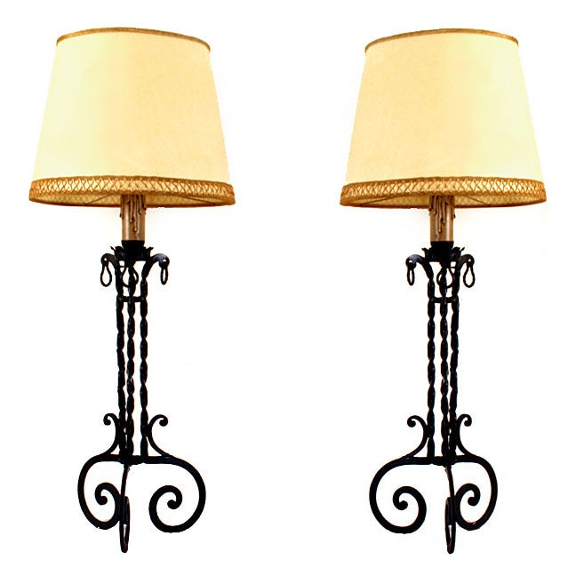 pair of wrought iron table lamps with custom shades at 1stdibs. Black Bedroom Furniture Sets. Home Design Ideas