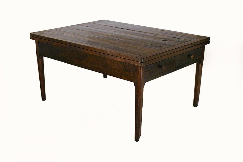 Walnut And Inlaid Extendable 4 Drawer Dining Table At 1stdibs