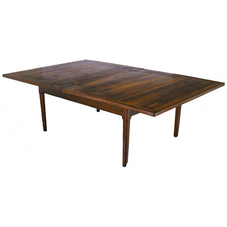 Walnut and inlaid extendable 4 drawer dining table at 1stdibs Dining table with drawer