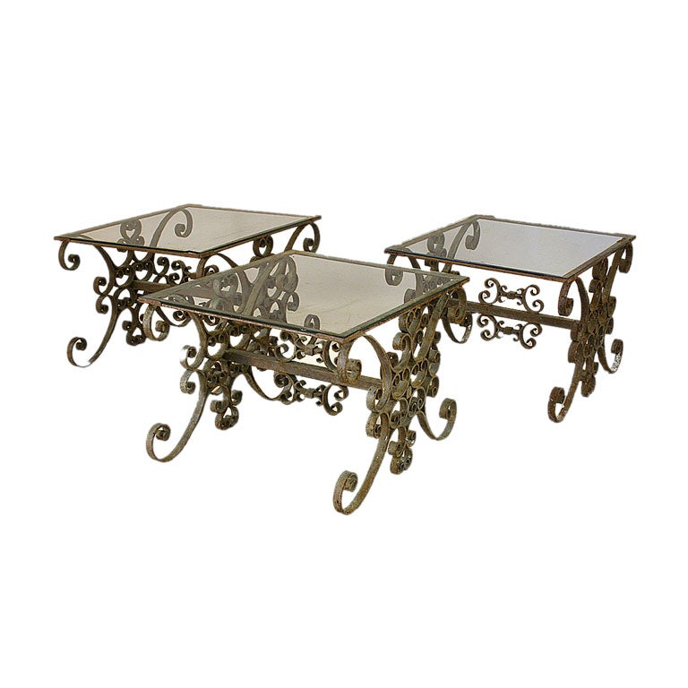 Set of three wrought iron and glass top low tables at 1stdibs for Wrought iron and glass side tables