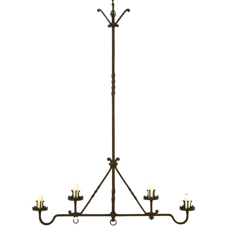 this italian wrought iron horizontal 4 light hanging fixture is no. Black Bedroom Furniture Sets. Home Design Ideas