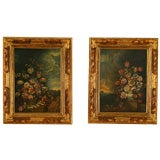 Pr of Oils in the Rococo Period Depicting Floral Arrangements
