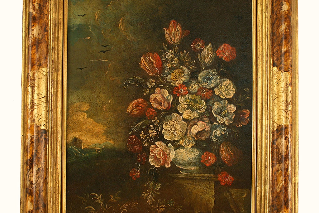 Pr of oils in the rococo period depicting floral for Rococo period paintings