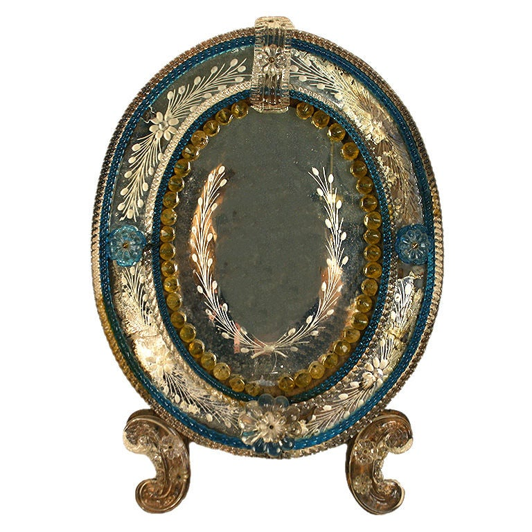 small venitian glass frame with etched glass mirrorplate