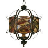 Italian Baroque Style Gilt & Wrought Iron Stained Glass Lantern