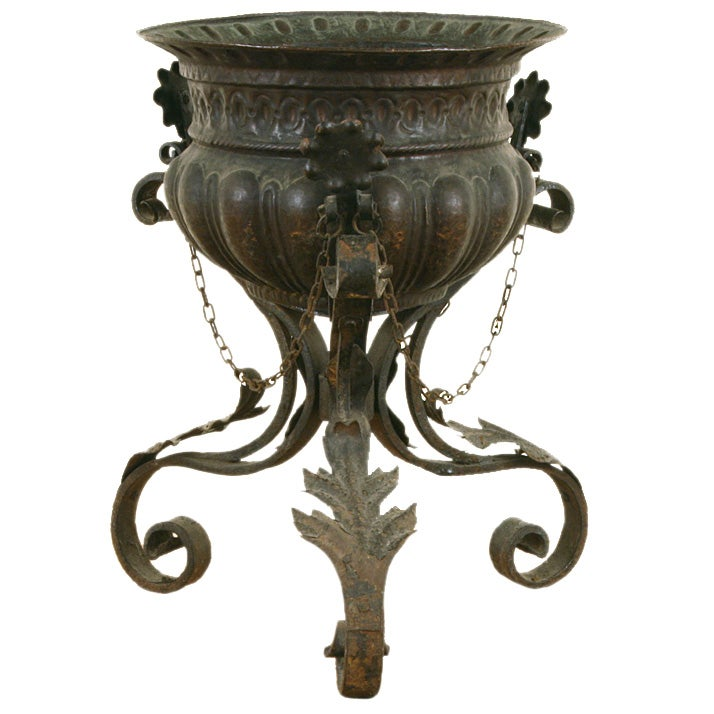 Italian Baroque Style Copper Planter On Wrought Iron Stand