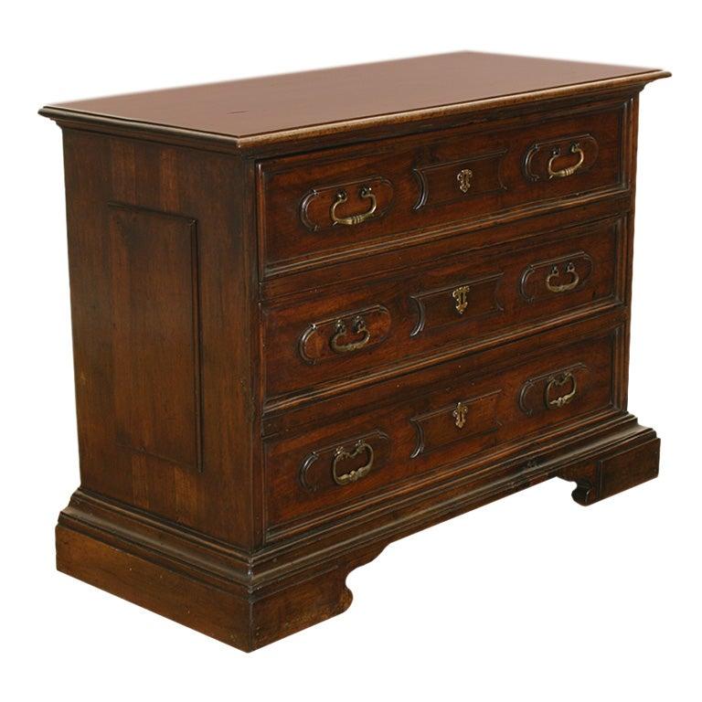 italian baroque period walnut 3 drawer commode at 1stdibs. Black Bedroom Furniture Sets. Home Design Ideas