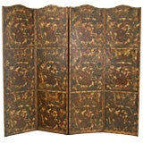 A Continental Tooled & Polychrome Painted Leather 4-Panel Screen