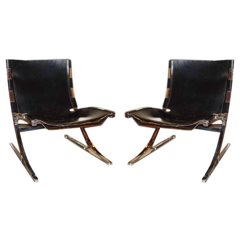 pair 39 50s walter knoll leather chrome chairs at 1stdibs