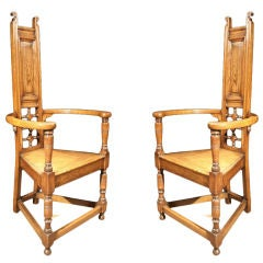 "PAIR Oak ""Godwin"" Armchairs. English Circa 1880"