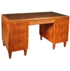 French Art Deco Amboyna Desk, Circa 1930