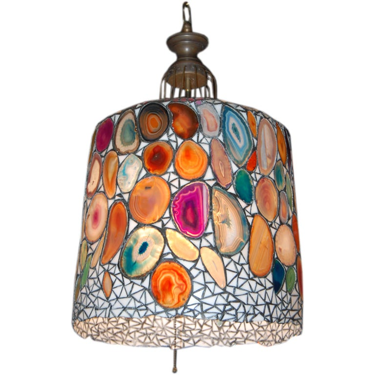 Stained Glass And Geode Slices Agate Hanging Lamp At 1stdibs